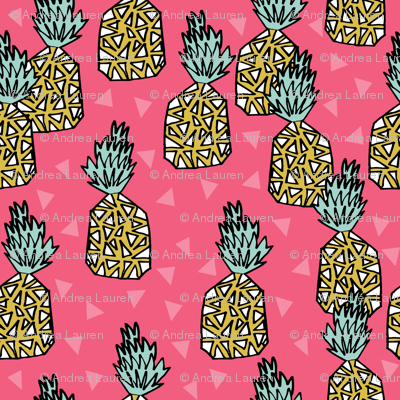 pineapple // pineapples pink tropical block print sweet triangles summer girls fruit print
