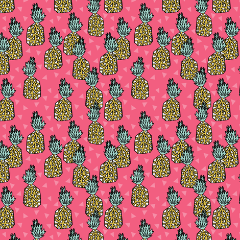 pineapple // pineapples pink tropical block print sweet triangles summer girls fruit print fabric by andrea_lauren on Spoonflower - custom fabric