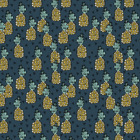 pineapple // sweet tropical pineapples pattern print blue pineapple tropical print fabric by andrea_lauren on Spoonflower - custom fabric