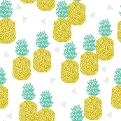 Pineapple Block Print - Goldenrod/White by Andrea Lauren