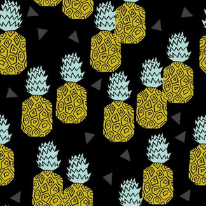 Pineappple Block Print - Black/Goldenrod by Andrea Lauren