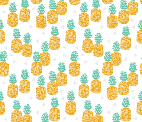 Pineapple Block Print - Golden/Pale Turquoise by Andrea Lauren fabric by andrea_lauren on Spoonflower - custom fabric
