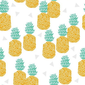 Pineapple Block Print - Golden/Pale Turquoise by Andrea Lauren