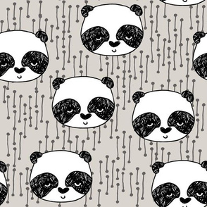 panda // light grey panda face illustration pandas scandi panda fabric