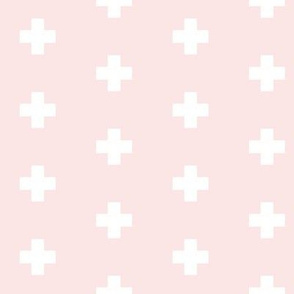 Small white swiss cross on cool ballet pink