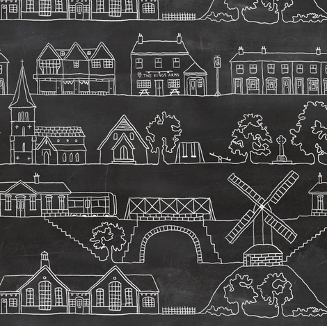 English country village fabric by vickythorndale on Spoonflower - custom fabric