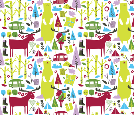 Hiking maroon fabric by laura_the_drawer on Spoonflower - custom fabric