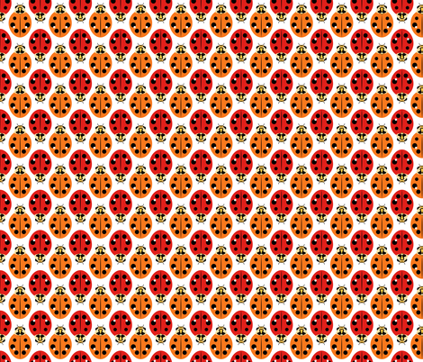 Ladybugs in Red and Orange fabric by anderson_designs on Spoonflower - custom fabric