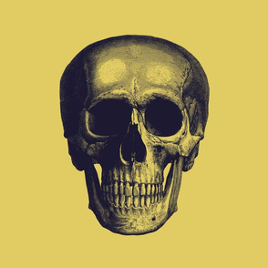 dark purple skull on light mustard