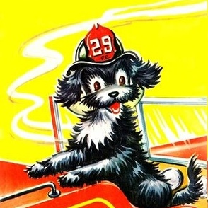 vintage retro kitsch children nursery toddlers firehouse fire engines mutt dogs mascot story books