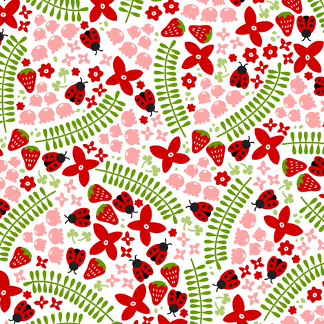 Lovely Ladybugs and Berries fabric by robyriker on Spoonflower - custom fabric