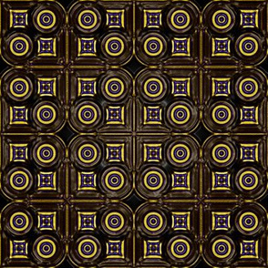 Circling the Square    -Chocolate, Blue and Gold
