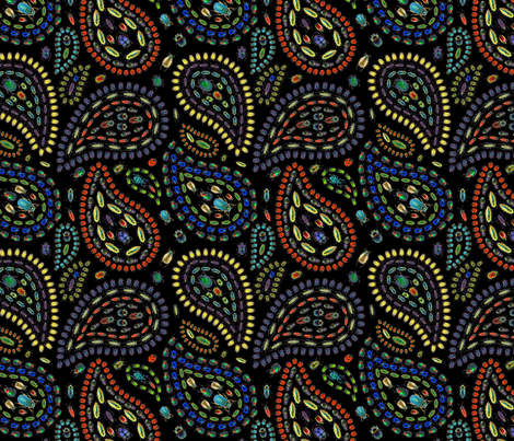 Beetle paisley on black fabric by jellymania on Spoonflower - custom fabric
