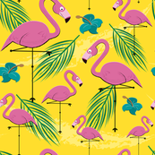 Hawaiian Print - Pink Flamingo