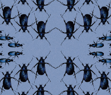 Hand Painted Deco Beetle Blue fabric by claredean on Spoonflower - custom fabric