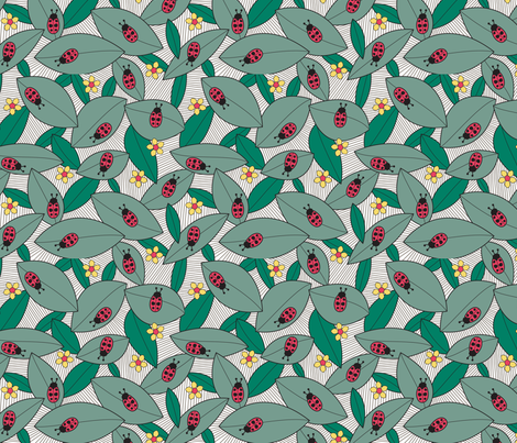 Ladybugs on Leaves fabric by brendazapotosky on Spoonflower - custom fabric