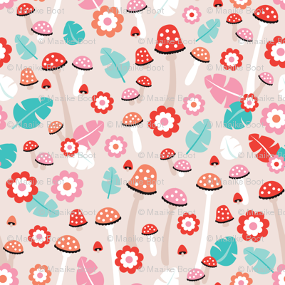 Pink girls mushroom toadstool garden fall illustration print