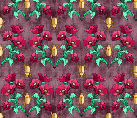 Gold Beetle + Poppy  fabric by pond_ripple on Spoonflower - custom fabric