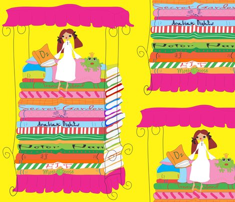 Princess and Pea Bed of Books Pink
