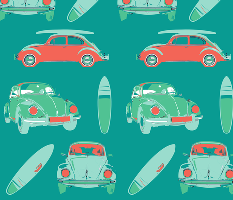 VW beetle fabric by gemmacosgrove-ball on Spoonflower - custom fabric
