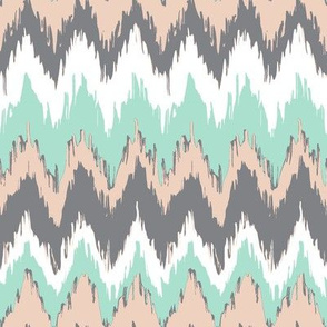 ikat - peach and teal