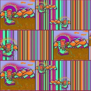 HIKING SHOES SUNRISE BLUEBERRIES PAPAYA chessboard
