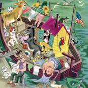 vintage retro harbor zoo boat ship rabbits cows chickens birds cats usa flag ducks turkey parrots goats donkeys dogs squirrels pigs mice lambs sailor