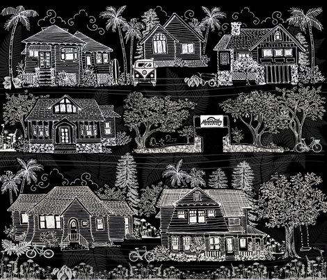 Neighborhood of Manoa Valley, Oahu, Hawaii fabric by honoluludesign on Spoonflower - custom fabric