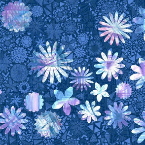 Abstract floral on intricate patterned background