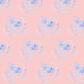 Vintage Blue Rose on Pink
