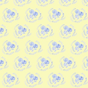 Vintage Blue Rose on Yellow