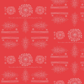 Stylized Paisley Red Design