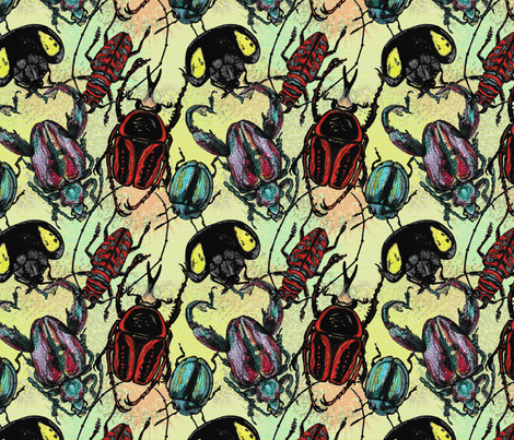 Tossed Beetles fabric by amy_isis on Spoonflower - custom fabric