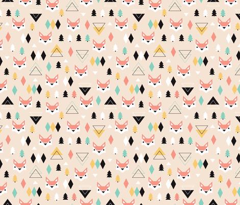 Geometric fox and pine tree illustration pattern
