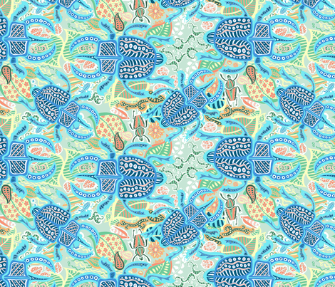Beetles dream blue fabric by fossan on Spoonflower - custom fabric