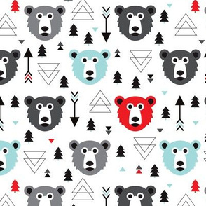 Christmas tree grizzly bear with arrows and geometric triangle shapes
