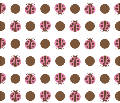 Beetles_Polkadot_brownPink1 fabric by renguie on Spoonflower - custom fabric