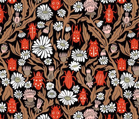 linocut beetles // vintage style linocut fabric hand-carved design by andrea lauren fabric by andrea_lauren on Spoonflower - custom fabric
