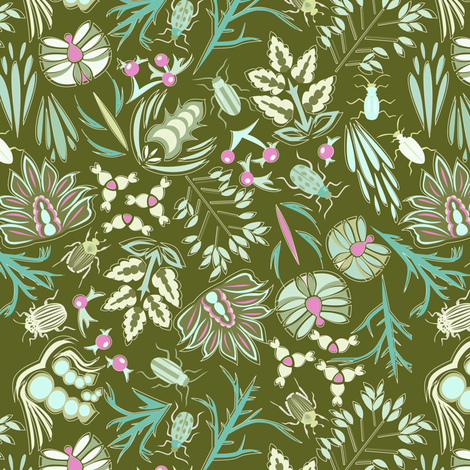 Beetles in My Garden fabric by mag-o on Spoonflower - custom fabric