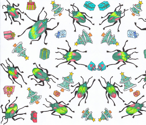Christmas_beetles_pattern-ed fabric by pookie_pie's_pressies on Spoonflower - custom fabric