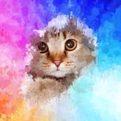 Cat in drip paint art