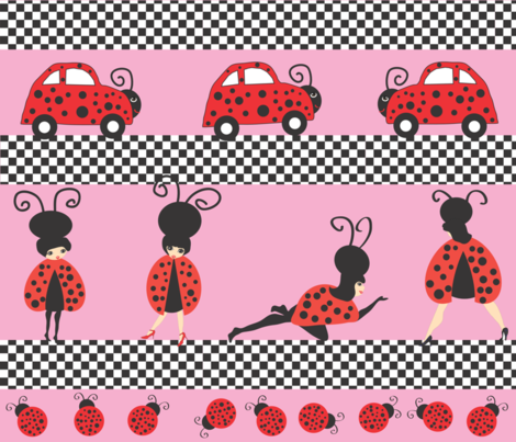 pinkladybugbeetle fabric by orangefancy on Spoonflower - custom fabric