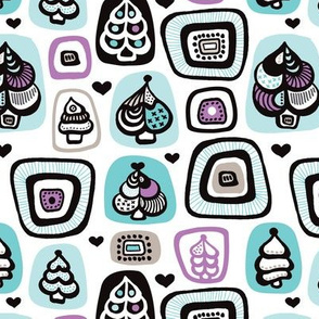 Aqua violet retro christmas tree illustration pattern