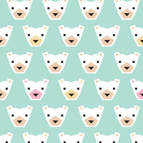 Adorable winter geometric polar bear mint kids illustration pattern