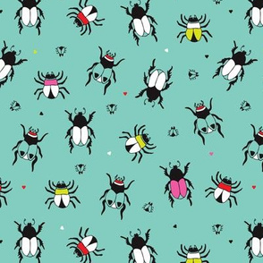creepy vivid colorful bugs and beetles insect illustration print