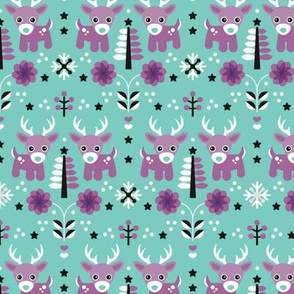 Winter wonderland reindeer christmas illustration pattern