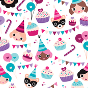 Happy birthday girls cake and balloons illustration