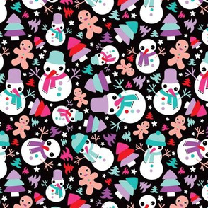 Winter wonderland snowman and ginger bread man christmas illustration pattern