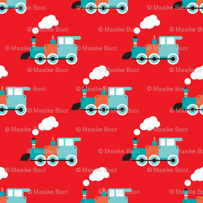 Cute red retro toy train illustration pattern fabric for Kids train fabric