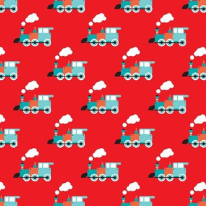 Cute red retro toy train illustration pattern